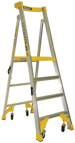 Ladder - Platform Aluminium Bailey P170 Job Station Stepladder 170kg c/w Castors - 4 Step 1.2M Platform