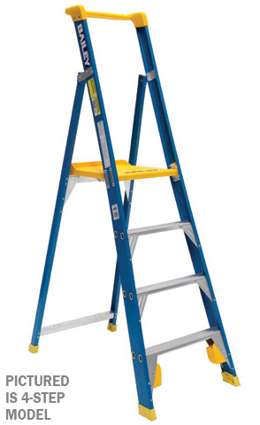 Ladder - Platform Fibreglass Bailey Professional Punchlock Stepladder 150kg - 3 Step 0.86M Platform