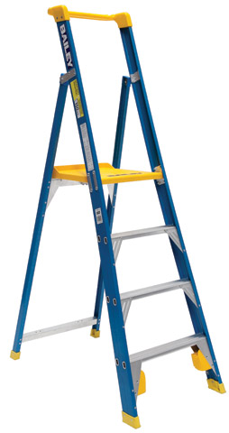 Ladder - Platform Fibreglass Bailey Professional Punchlock Stepladder 150kg - 4 Step 1.15M Platform