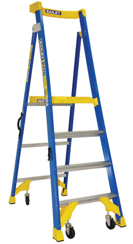 Ladder - Platform Fibregalss Bailey P170 JobStation Stepladder 170kg w Castors -4 Step 1.2M Platform