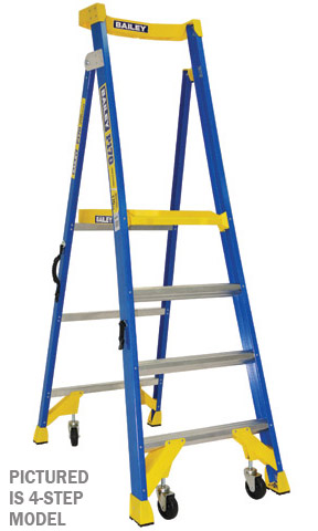 Ladder - Platform Fibregalss Bailey P170 JobStation Stepladder 170kg w Castors -12 Step 5.5M Platfor