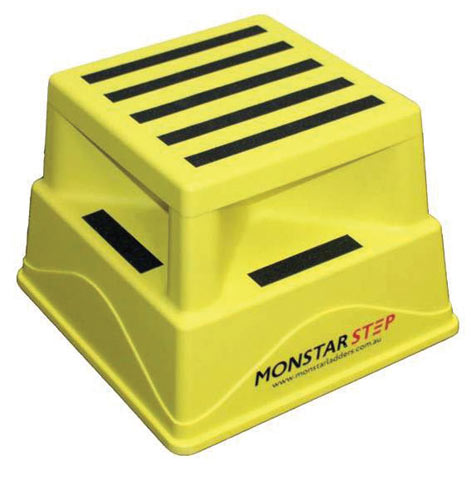 Step - Portable Access MonstarStep 370mm x 370mm Deck x 255 (H) c/w Ant-Slip Tape 180KG - Yellow