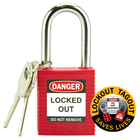 Lockout Padlock Nylon Safety Plus Brady 850821 Steel Shackle - Red
