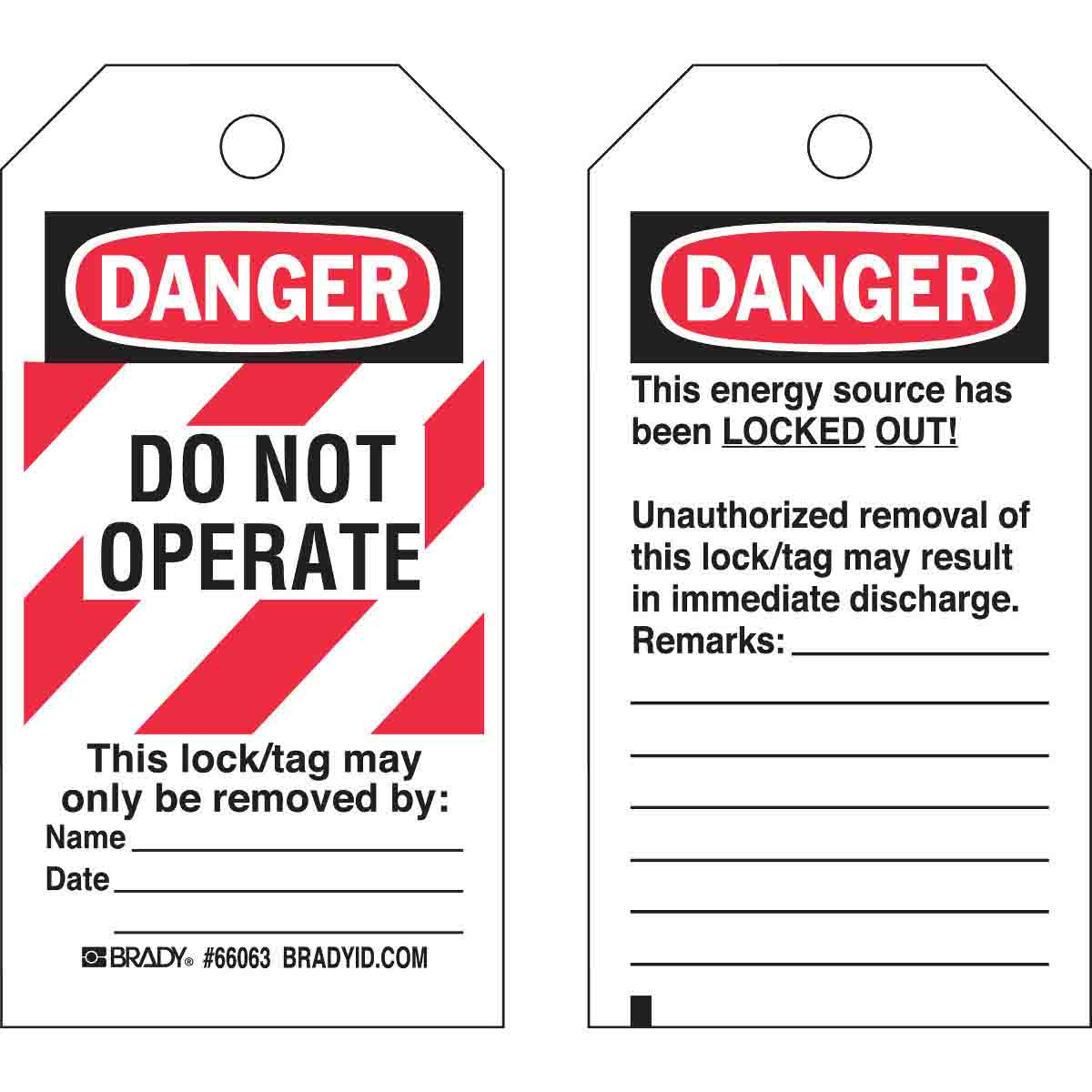 Lockout Tag - Brady 66063 Poly Danger 'Do Not Operate' 76x140mm Pack 25
