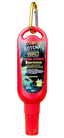 Insect Repellent - Red-Eyed Gotcha 6 hr Tropical Strength - 50gm Clip On Tottle