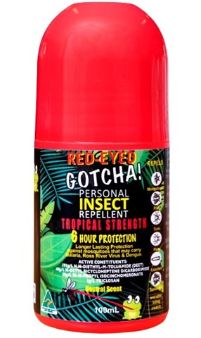 Insect Repellent - Red-Eyed Gotcha 6 hr Tropical Strength - 100ml Roll On