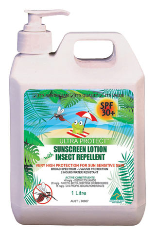 Sunscreen - Ultra Protect SPF30+ 4hr Lotion & Insect Repellant - 1L Pump Pack
