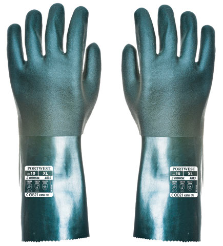Glove - PVC 35cm Double Dipped Cotton Liner Portwest EN374-1:2003 Chemical Rated (JKL) Green - XL