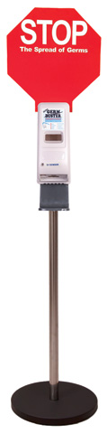 Sanitiser Station - Free Standing Ultra c/w Automatic Dispenser & STOP Sign - requires Germ Buster 1L Cartridge
