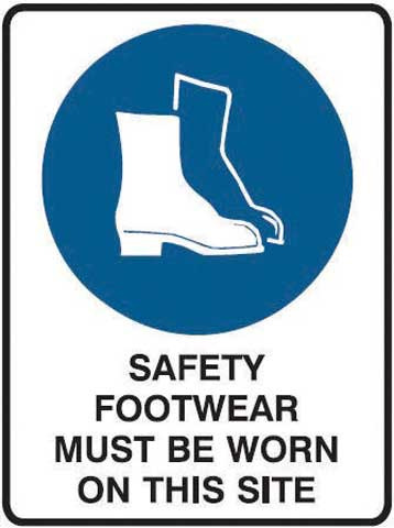 Sign - Metal Mandatory 'Safety Footwear Must Be Worn On This Site' 600mm x 450mm