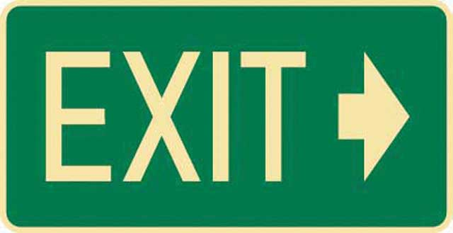 Sign - Poly Emergency 'Exit' Right Arrow 350mm x 180mm