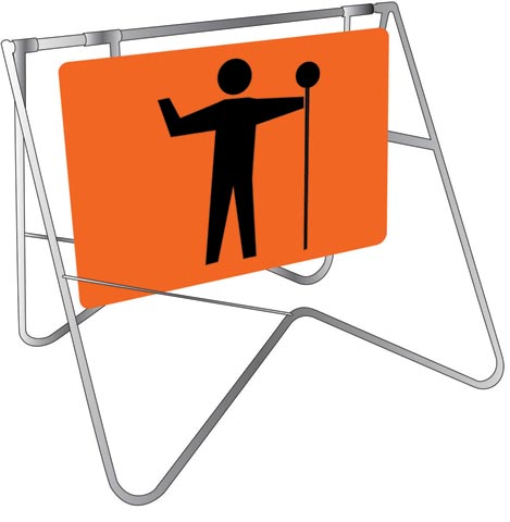 Swing Sign & Stand - Metal CL1A Reflective USS 900mm x 600mm - Symbolic Stop/Slow Man