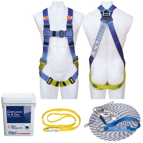 Kit - Roof Workers 3M Protecta First AA1000AU c/w Harness/15.0M Rope & Integral Shock Absorber Lanyard/1.5M Round Strap/Carry Bucket - M