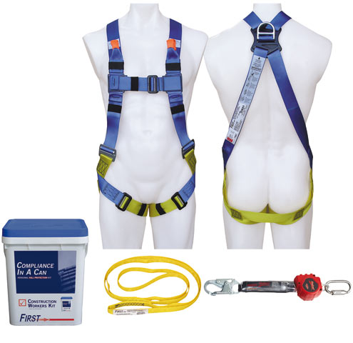 Kit - Construction Workers  3M Protecta First AA1020AU c/w Harness/1.8M Rebel Retractable Lanyard/1.5M Round Strap/Carry Bucket - M