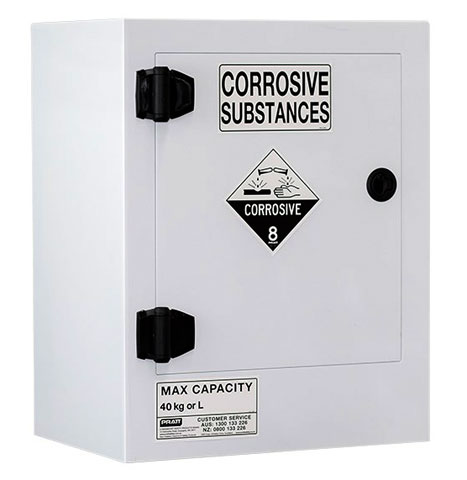 Cabinet - Corrosive Substance Storage Poly Pratt 1 Door/1 Shelf Black - 40L