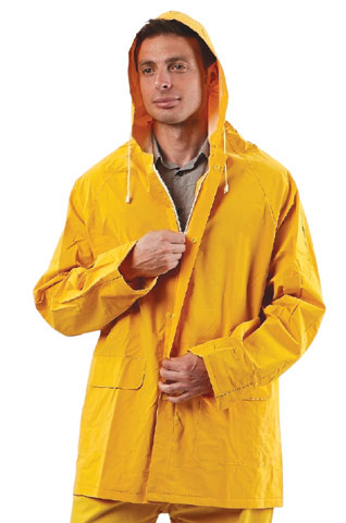 Rain Jacket - PVC/Polyester ProChoice 3/4 QTR c/w Hood Waterproof/Breathable Zip Front Yellow - S