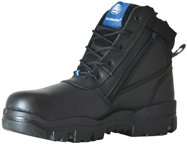 Boot - Safey Mens Bata Helix (REFER TO FB63963 FOR CORRECT CODE) Horizon Zip/Lace Up PU/TPU Sole Black Leather - 3