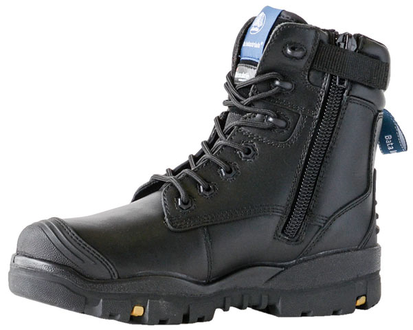 Boot - Safety Mens Bata Helix Longreach ST - NA - (REFER PRODUCT CODE FB66146 FOR NEAREST EQUIVALENT) 705-69512 Zip Lace Up PU/Rubber Sole c/w Steel Toe & Scuff Cap Black - 3