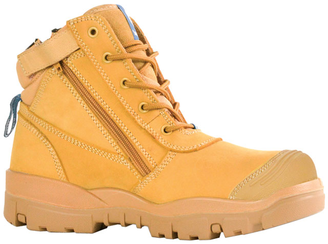 Boot - Safety Mens Bata Helix Horizon (REFER TO FB83964 FOR CORRECT CODE) Zip/Lace Up PU/Rubber Sole c/w Scuff Cap Nubuck Wheat - 3
