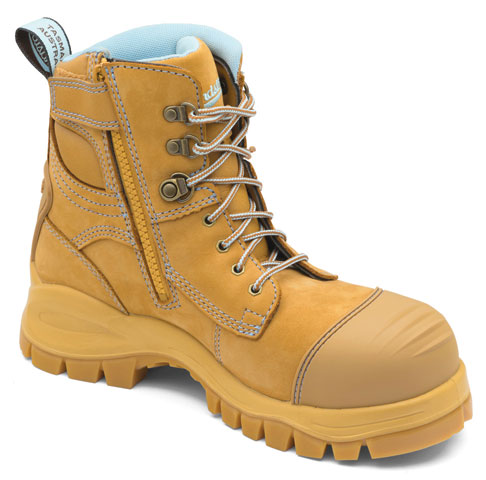 Boot - Lace Up/Zip Side Safety Womens Blundstone 892 Nubuck Leather c/w Toe Guard PU/Rubber Sole Water Resistant Wheat - 5