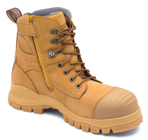 Boot - Lace Up/Zip Side Safety 150mm Blundstone Nubuck Leather c/w Toe Guard PU/Rubber Sole Water Resistant Wheat - 5