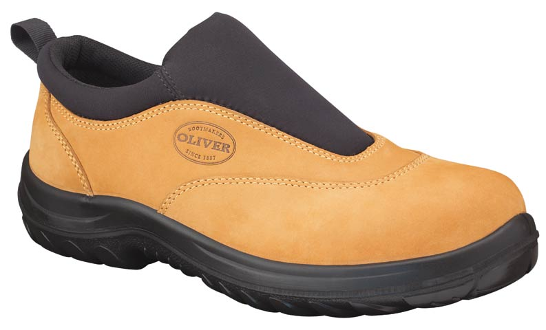 Shoe - Slip On Safety Sports Oliver 34615 Nubuck Leather DDPU Sole Water Resistant Wheat - 4