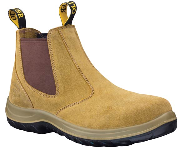 Boot - Elastic Sided Safety Oliver 34624 Suede Leather DDPU Sole Water Resistant Beige - 4