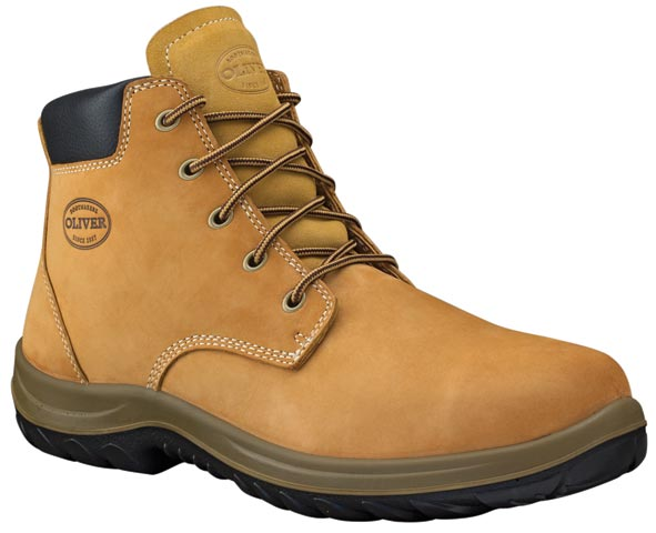 Boot - Lace Up Safety Oliver 34632 Nubuck Leather Padded Collar DDPU Sole Water Resistant Wheat - 4
