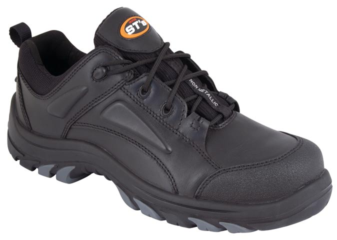 Shoe - Lace Up Safety Oliver 44500 Full Grain Leather Non Metallic Cap PU/TPU Sole Water Resistant Black - 5