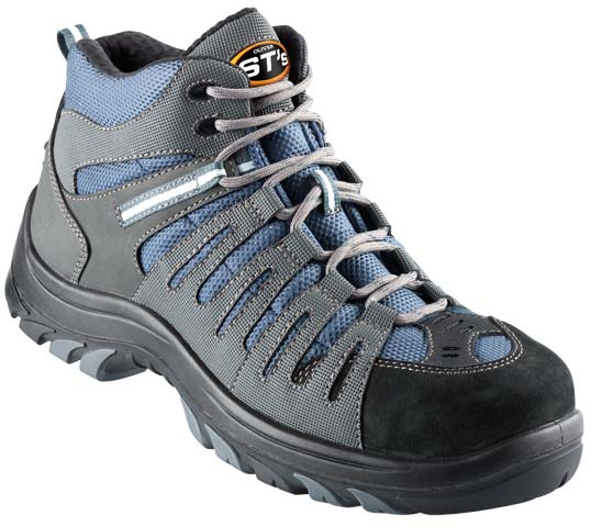 Boot - Lace Up Safety Sports Oliver 44535 Nubuck Leather & Synthetics Non Metallic Cap PU/TPU Sole Blue/Grey - 5