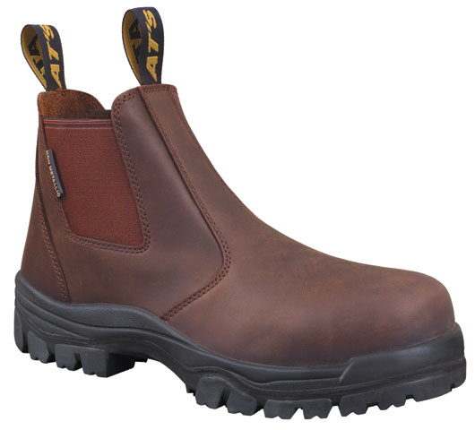 Boot - Elastic Side Safety Oliver 45627 AT45 Full Grain Leather Composite Cap PU/TPU Sole Water Resistant Brown - 5