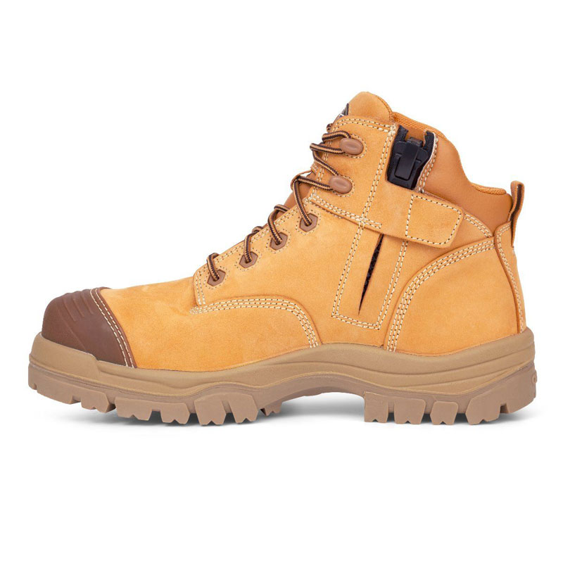 Boot - Lace Up/Zip Side Safety 130mm Oliver 45630Z AT45 Nubuck Leather Composite Toe c/w Scuff Cap PU/TPU Sole Water Resistant Wheat - 5