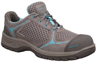 Shoe - Lace Up Womens Safety Jogger Microfibre&Sports Mesh Lined DD PU/Rubber Sole Safety Grey/Blue - 35