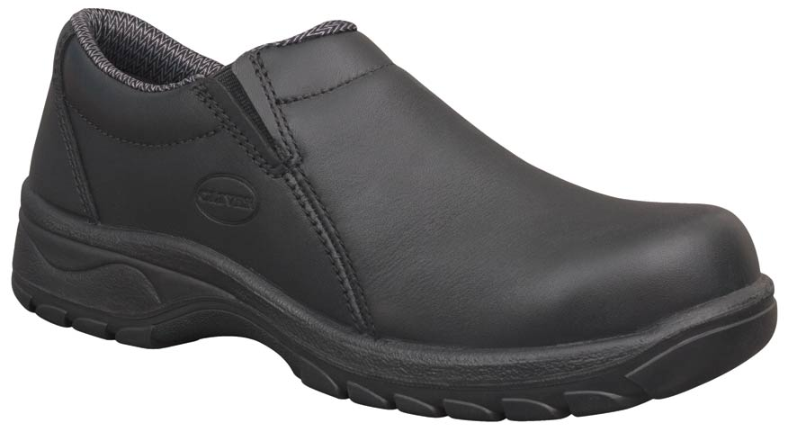 Shoe - Slip On Womens Safety Oliver Full Grain Leather Lined DD PU/Rubber Sole Water Resistant Black - 35