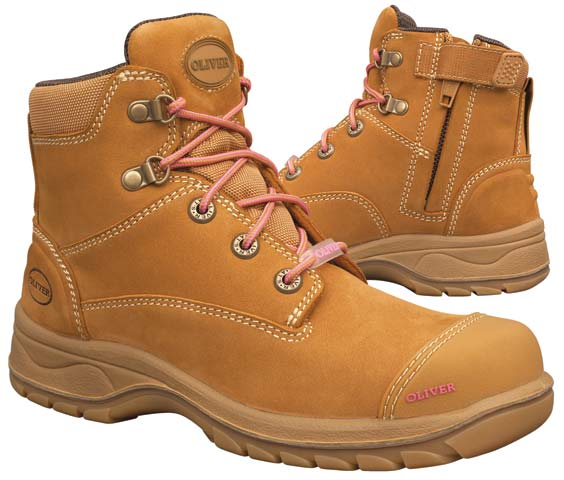 Boot - Lace Up/Zip Side Womens Safety Oliver Nubuck Leather DD PU/Rubber Sole Water Resistant Wheat - 35