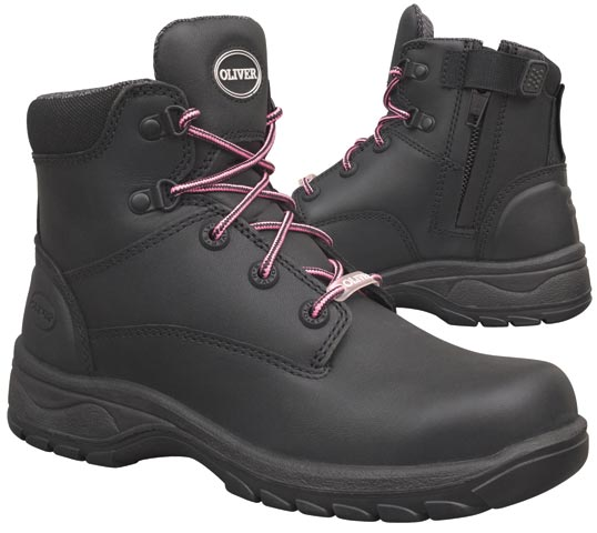 Boot - Lace Up/Zip Side Womens Safety Oliver Full Grain Leather DD PU/Rubber Sole Water Resistant Black - 35