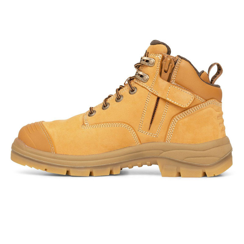 Boot - Lace Up/Zip Side Safety 130mm Oliver AT55 Nubuck Leather  c/w Scuff Cap PU/Rubber Sole Water Resistant Wheat - 4