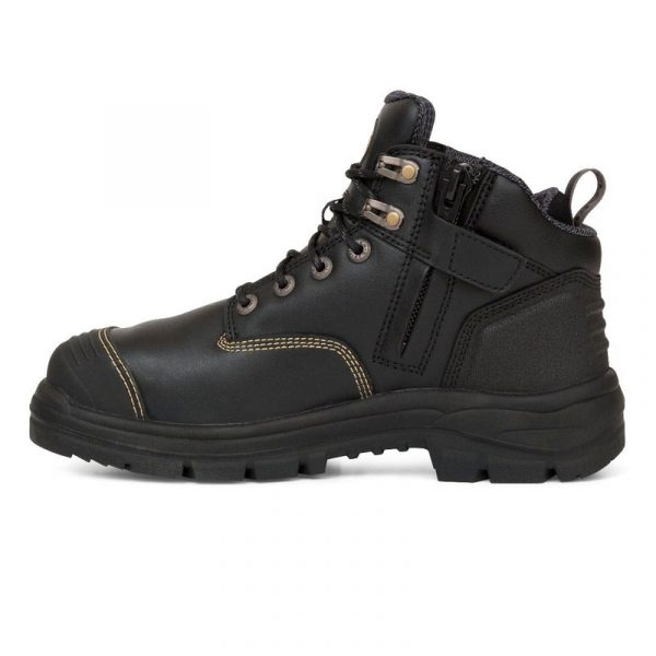 Boot - Lace Up/Zip Side Safety 130mm Oliver AT55 Full Grain Leather  c/w Scuff Cap PU/Rubber Sole Water Resistant Black - 4