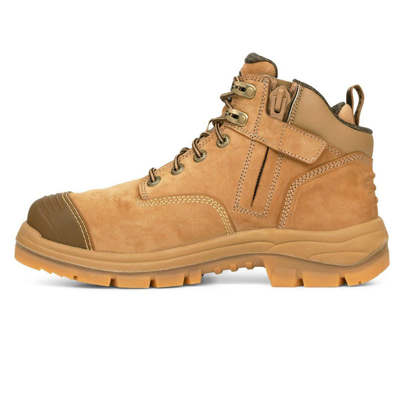 Boot - Lace Up/Zip Side Safety 130mm Oliver AT55 Stone Leather  c/w Scuff Cap PU/Rubber Sole Water Resistant Stone - 4