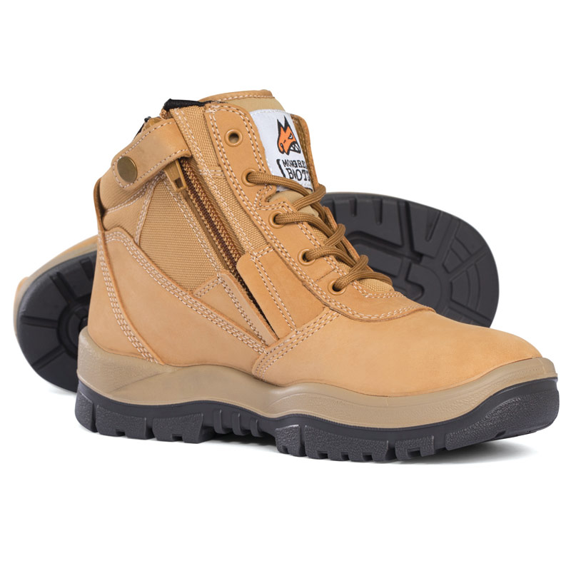 Boot - Safety Mongrel 261050 Zip Sided Lace Up DD/TPU Sole Wheat - 3