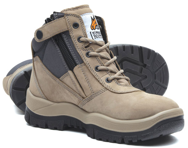 Boot - Safety Mongrel 261060 Ankle Zip Sided Lace Up TPU/PU Sole Nubuck Leather Stone - 3