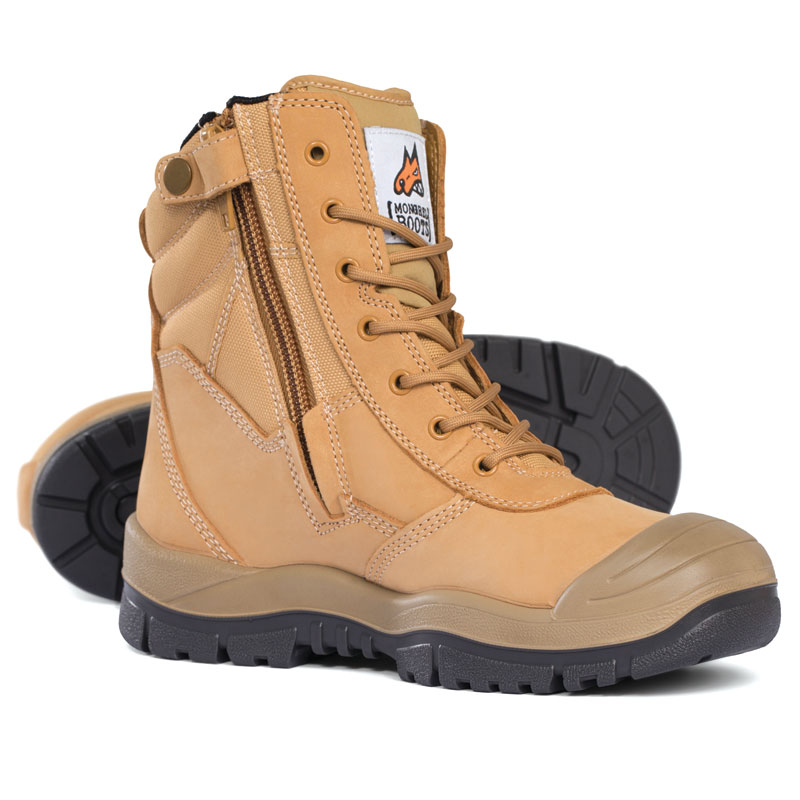 Boot - Safety Mongrel 451050 High Leg Lace Up Zip Side c/w Scuff Cap DD TPU Sole Wheat - 5