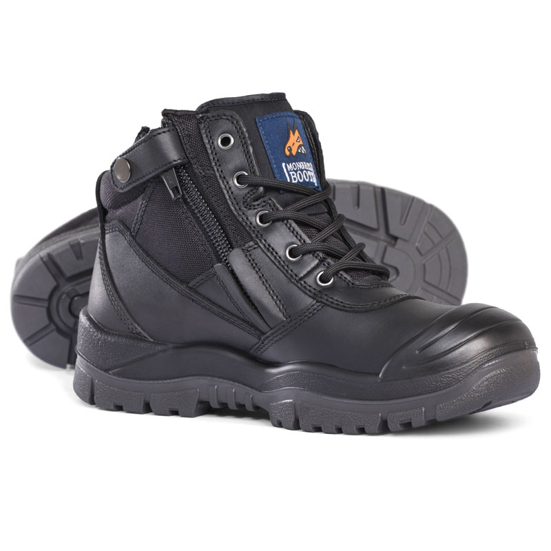 Boot - Safety Mongrel 461020 Ankle Lace Up Zip Side c/w Scuff Cap DD TPU Sole Black - 5