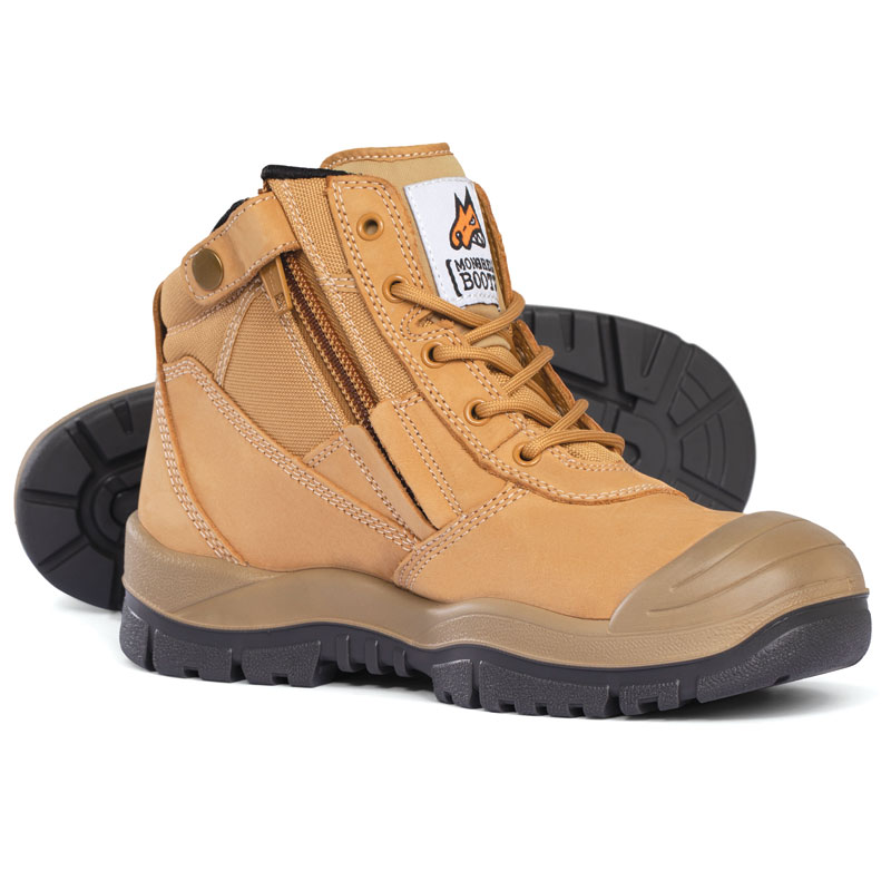 Boot - Safety Mongrel 461050 Ankle Lace Up Zip Side c/w Scuff Cap DD TPU Sole Wheat - 5