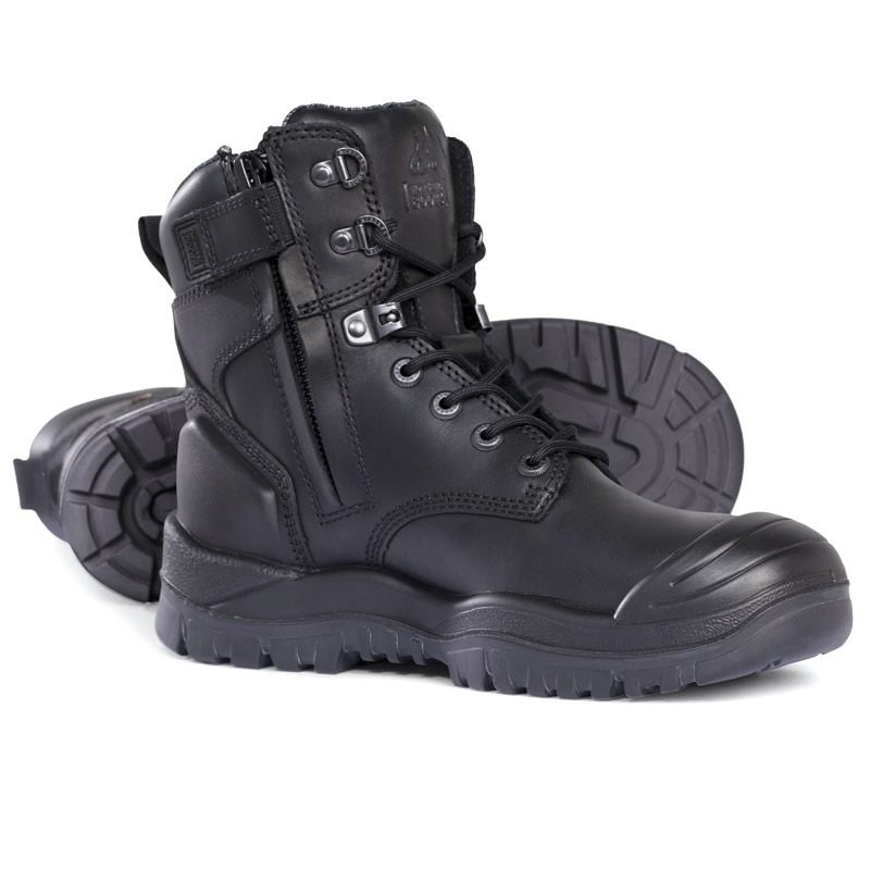 Boot - Safety Mongrel 561020 High Leg Zip Sided Lace Up SP PU/Rubber Sole c/w Scuff Cap Black - 5