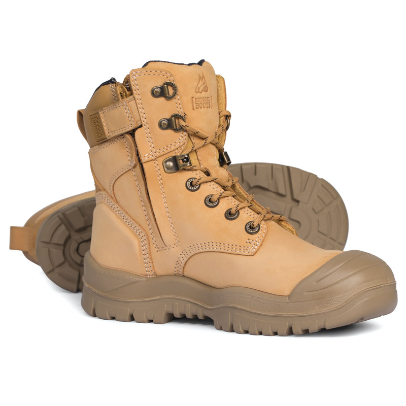 Boot - Safety Mongrel 561050 High Leg Zip Sided Lace Up SP PU/Rubber Sole c/w Scuff Cap Wheat - 5