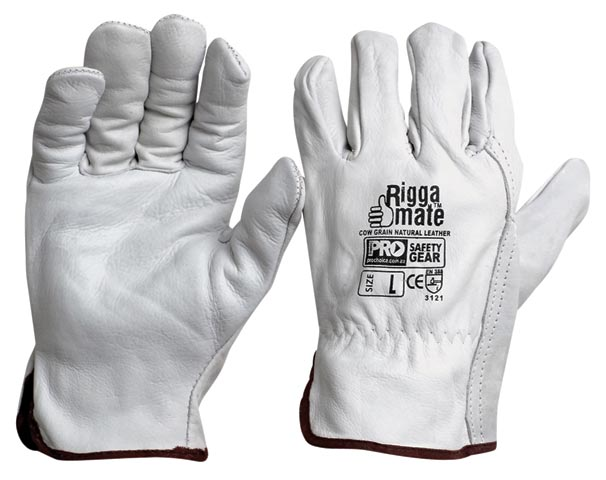 Glove - Leather/Kevlar Rigger ProChoice Riggamate Cut Resistant 5 Cow Grain Natural - M