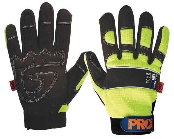 Glove - Leather Synthetic Pro-Fit Grip HI VIS Reinforced Palm Yellow - S