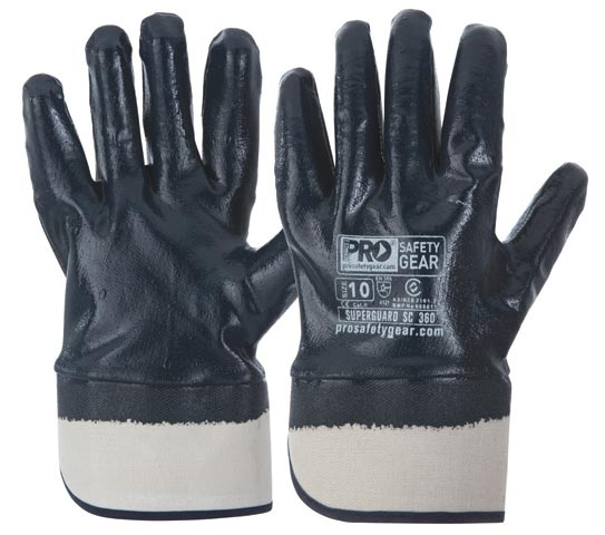 Glove - Nitrile Full Dip ProChoice SuperGuard Blue Cotton Liner Safety Cuff - 9