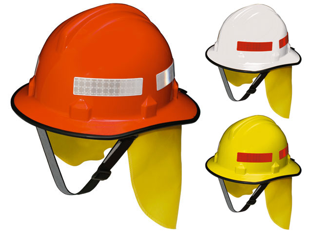Hard Hat - Safety Polycarbonate 3M HF44 Bushfire (Type 3) c/w Reflective Tape/Chin Strap/FR Neck Protector - Orange